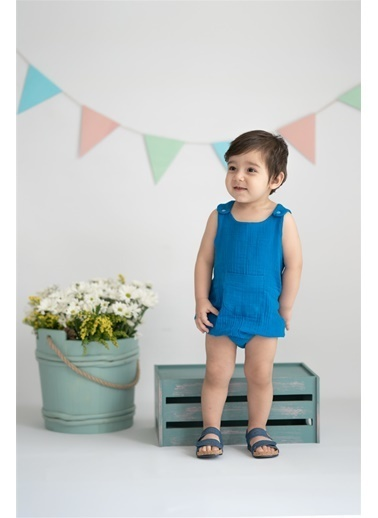 Nila Kids Vintage Rhapsody Organik Muslin Erkek Bebek Cepli Tulum Mavi